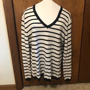Tommy Hilfiger White and Navy Striped Sweater
